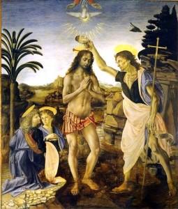Leonardo e Verrocchio, Battesimo di Cristo, Firenze Uffizi