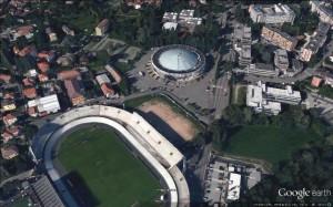 Da Google Earth: stadio, palazzetto e Campus