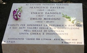 La lapide ai patrioti varesini al Gianicolo, a Roma