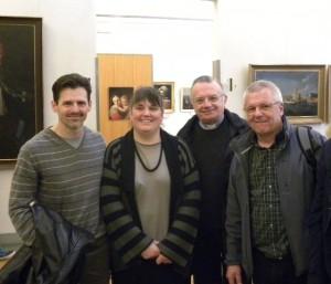 Paolo Moro, Laura Marazzi, don Erminio Villa e Bernardino Corci Maspoli in una conferenza al museo Baroffio