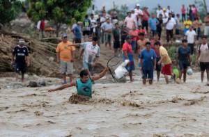 Durante l'alluvione a Piura