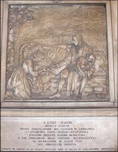 La lapide a Sacco all'università, già Ospedale Maggiore, di Milano
