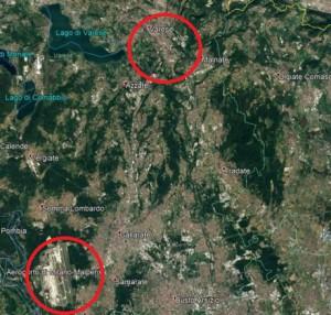 L'aeroporto di Malpensa nel territorio (da Google Earth)