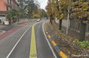 La (deserta) pista ciclabile di viale XXV aprile