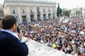 """La """"piazza"""" a Roma con Marino"""