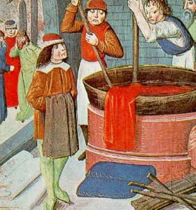 Tintori all'opera nel medioevo