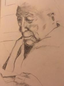 Urbano Aletti in un disegno della figlia Maria