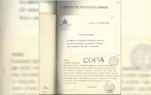 Copia di documento di Pio XII conservato negli archivi vaticani