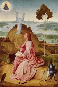 L'evangelista Giovanni scrive il Libro dell'Apocalisse. Dipinto di Hieronymus Bosch