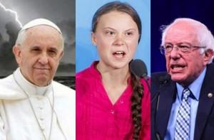 Bergoglio Thunberg e Sanders