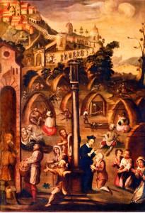 La peste del 1630 a Busto Arsizio. In alto processione al Sacro Monte di Varese (anonimo lombardo 1632, Museo d'arte sacra di san Michele, Busto A.)