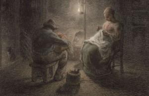 "Jean-François Millet, ""Sera d'inverno"" (particolare), 1867"
